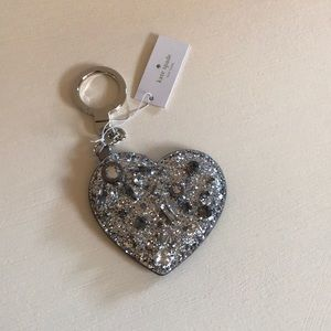 KATE SPADE silver jeweled heart key chain